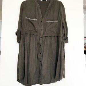 Army Shirt Dress w/ Beading